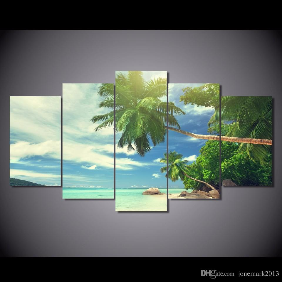 5 Pcs/Set HD Printed Beach palm beach clouds Painting Canvas Print room decor print poster picture canvas Free shipping/NY-5774