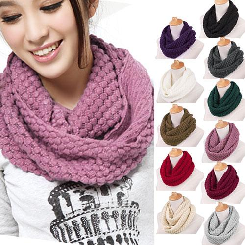 New Fashion Women's Girl's Ring Scarf Scarves Wrap Shawls Warm Knitted Neck Circle Cowl Snood For Autumn Winter (Ax30) Free Shipping