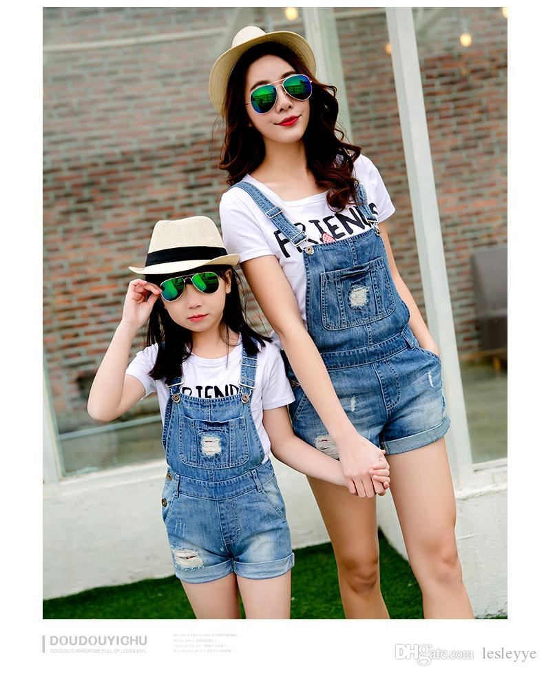 jeans overalls of kids and moms Cowboy straps short paternity suits jeans with T shirt Mother And Daughter Dresses Family Clothes Set