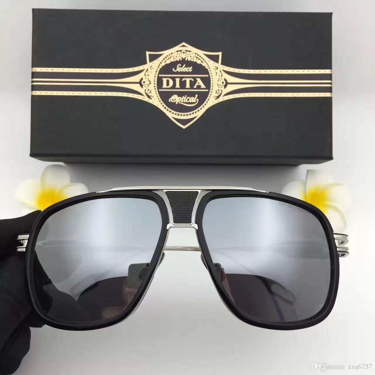 DITA sunglasses dita grandmaster five men brand designer sunglasses retro vintage shiny 18Kgold coating mirror lens big frame original case