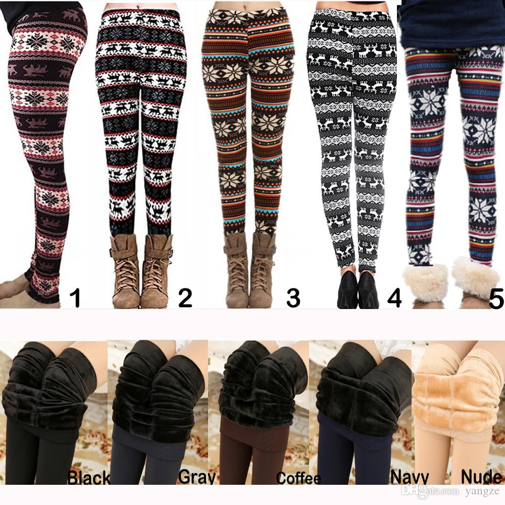 Hot Fall Winter Christma Leggings Women Fur Thick Warm Fleece Snowflake Deer Printed Lady's Black Tights Pencil Bodycon Pants 12 Colors M139