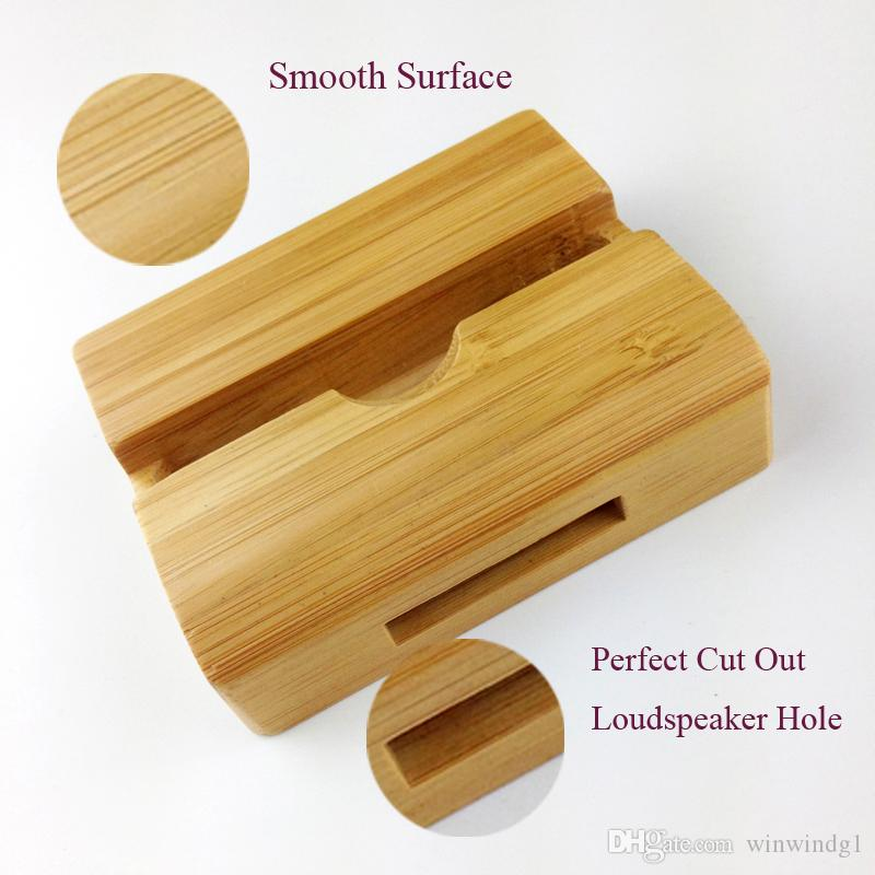 Lazy Phone Holder Bamboo Wood Luxury Retro Cell Phone Charger for iPhone 5s 6s 6Plus 7 7plus Universal Bracket With Loudspeaker for Huawei