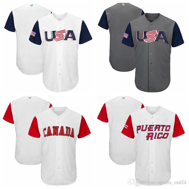 USA Baseball Majestic 2017 World Cup Baseball Classic Team Jersey Men Baseball Jersey Puerto Rico Mexico Italy All Teams Wholesale