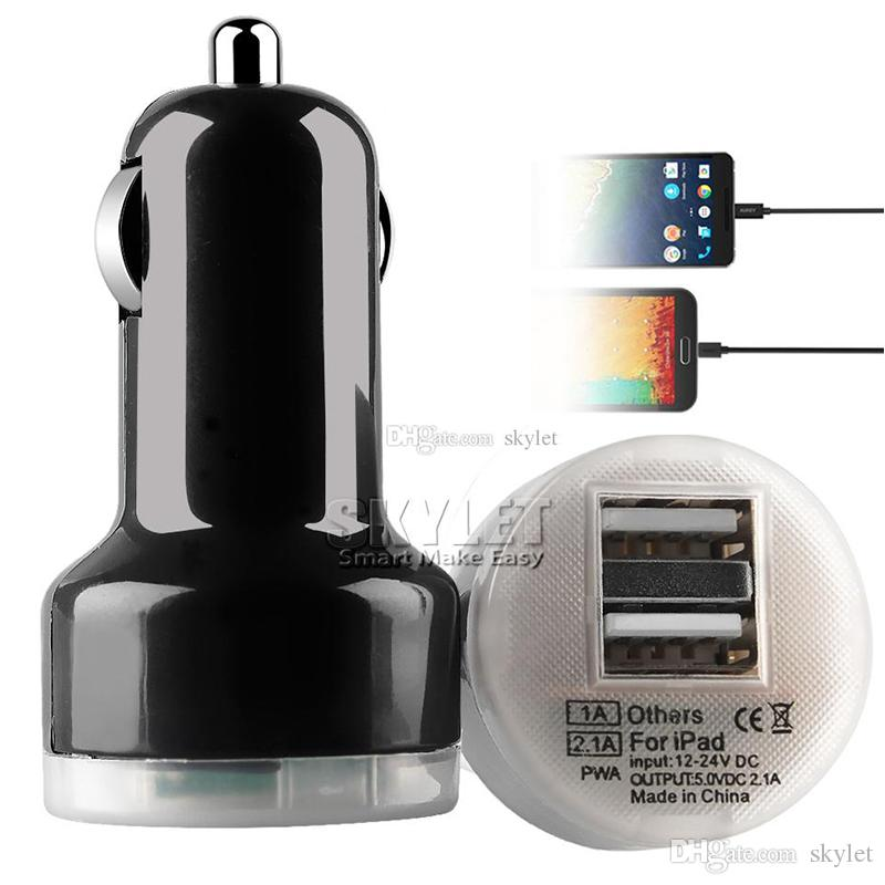 For Iphone 6 Travel Adapter Car Charger 2 Ports Colorful Micro USB Car Plug USB Adapter For Iphone 6 Iphone 6 Plus 200 PCS