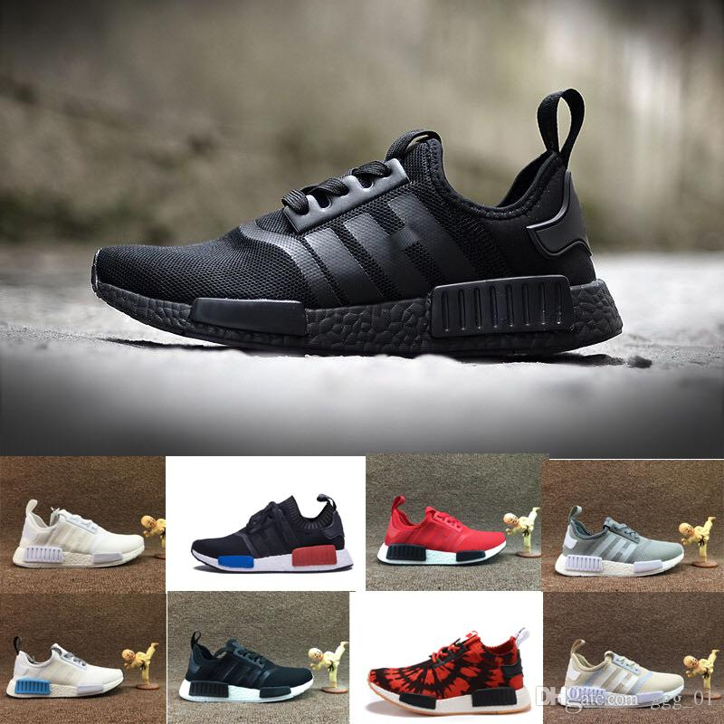 2017 NMD Runner R1 Primeknit Black Triple iRun Running Shoes Men & Women Lover's Lightweight Breathable Athletic Sport Sneakers 36-45