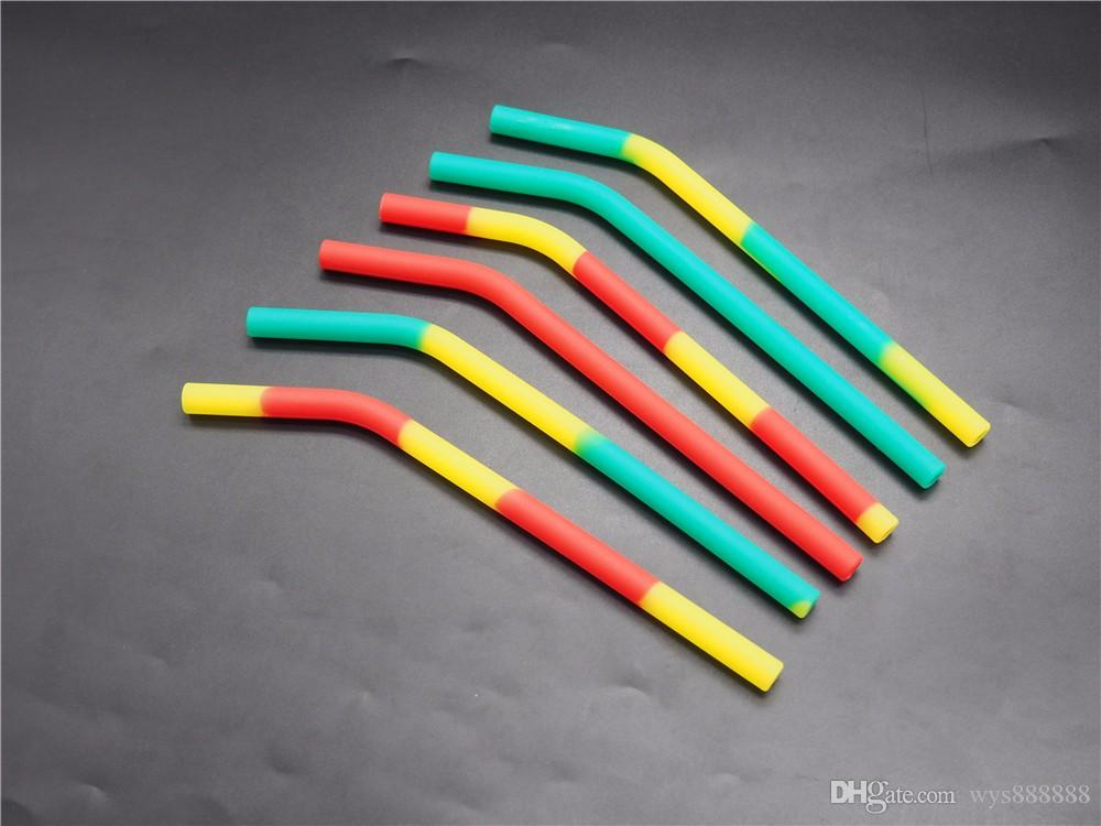 10Pcs/lot Soft Silicone Drinking Straws Unique Drinking Tube Party Bar Accessorie Random Color Celebration party Children Non toxic