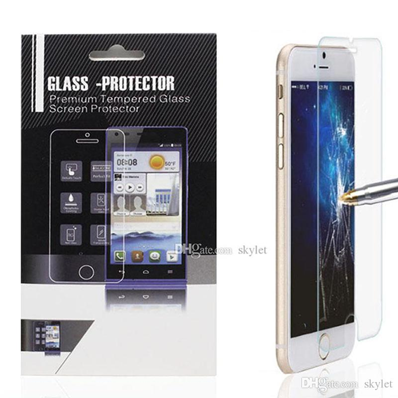For Iphone 7 Tempered Glass Screen Protector Iphone 7 Plus LG G5 K7 Stylo 0.33mm 2.5D iPhone 6S Plus Protector Glass Film In Papper Package