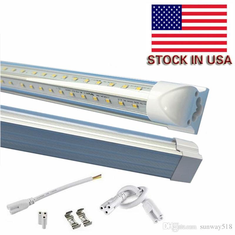 V-Shaped 4ft 5ft 6ft 8ft Cooler Door Led Tubes T8 Integrated Led Tubes Double Sides SMD2835 Led Fluorescent Lights 85-265V Stock In USA