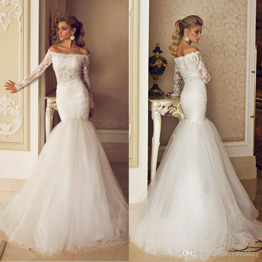 Gorgeous Bateau Mermaid Lace Applique Long Sleeves Sexy Wedding Dresses Wedding Gown Custom Made D79