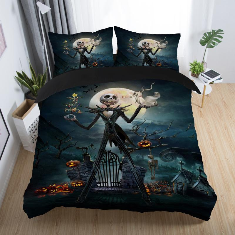 couple bedding skull 3D Nightmare Before Christmas bedding set Jack and Sally Valentine's Day Rose Decor christmas duvet cover 5