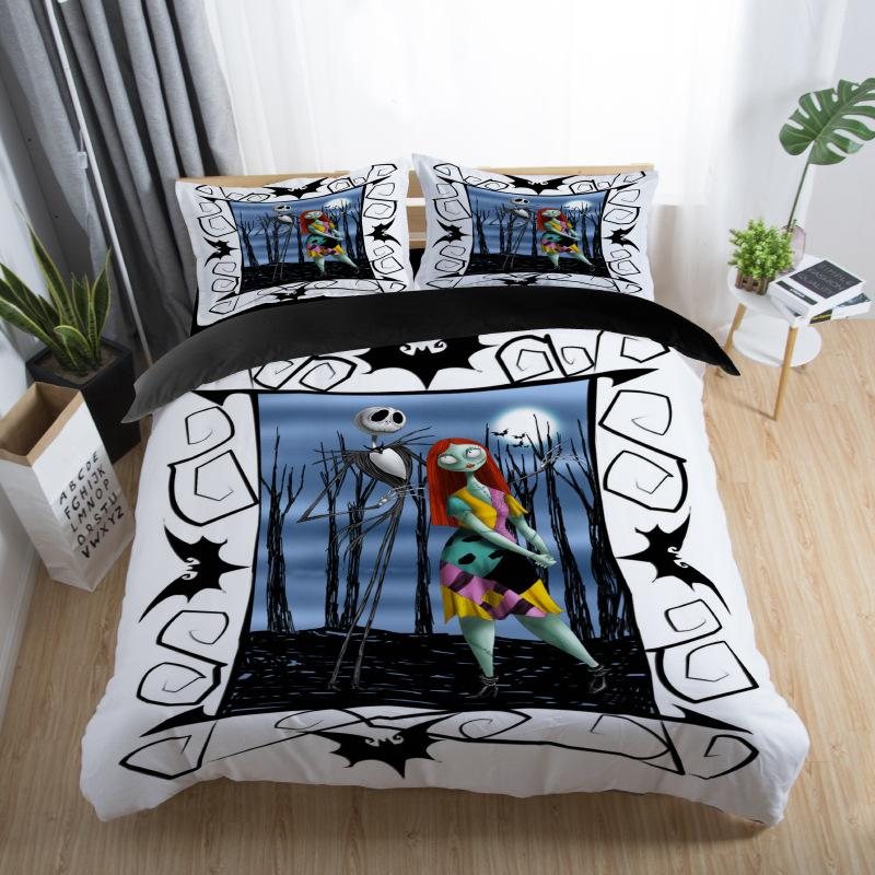 skull couples bedding set skull bed set 3D Nightmare Before Christmas Duvet Cover Jack and Sally Valentine's Day Rose Decor 5