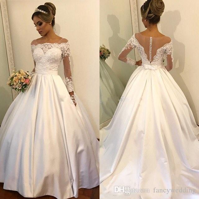 New Coming Gorgeous White Jewel A Line Lace Applique Long Sleeves Wedding Dresses Wedding Gown Custom Made