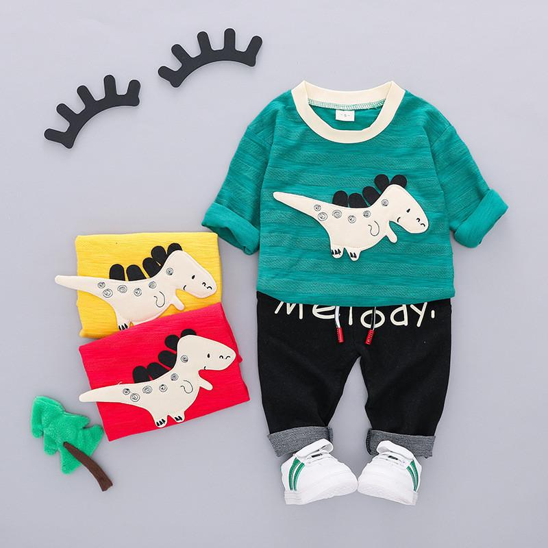 100% cotton autumn casual cartoon kid suit children set baby clothing baby clothes girls clothing boys clothing set