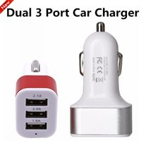 Universal Aluminum Metal 3 USB Ports Car Charger Adapter Col...