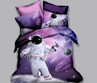 3D Astronaut Bedding Set Spaceman Duvet Cover Set 3 Pcs Bedc...