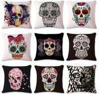 Skull Pillow Case Skull Cushion Covers Beautiful Plant Throw...