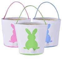 Easter Bunny Basket Canvas Easter Rabbit Tail Backet Bunny B...