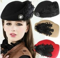 Feather Imitation Wool Beret Fashion Vintage Wool Felt Women...