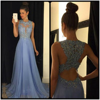 Sexy Jewel Neck A Line Ombre Chiffon Lace Beaded Maroon Lave...