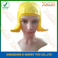 Wholesale- X- MERRY Flash Rubber yellow color Wig for Lady won...