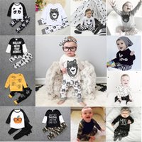 37 Style Baby INS Fox Stripe Letter Suits Kids Long Sleeve P...