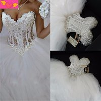 Luxurious Bling Strapless Wedding Dresses Corset Bodice Shee...