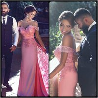 Sexy Lace Off Shoulder Long Sheath Prom Dresses with Detacha...