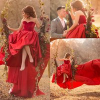 Said Mhamad Red Long Train Prom Dresses A Line Sweetheart Pl...