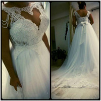 2018 New Plus Size Wedding Dresses Elegant A Line Lace Beadi...