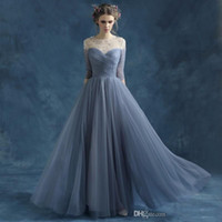 Pleated A- line Chiffon Evening Dresses Elegant Beading Pearl...