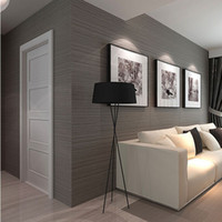Wholesale- Plain dark gray vertical striped wallpaper waterp...