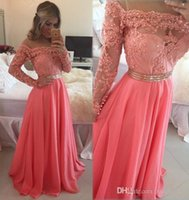 Hot Long Sleeve Prom Dresses Appliques Beaded Chiffon Formal...