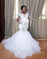 Nigerian African White Mermaid Wedding Dresses Boat Neck Lac...