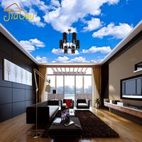 Wholesale- Custom Ceiling Wallpaper Blue Sky And White Cloud...