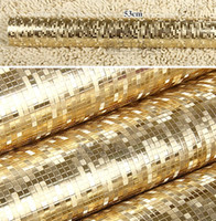 Wholesale- Luxury Plain Gold Wallpaper Roll Texture Mosaic W...