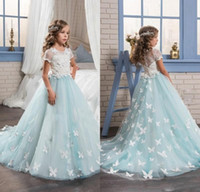 2017 Gorgeous Mint Flower Girls Dresses with Short Sleeves F...