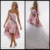 2018 Sweetheart Pink Satin Camo Wedding Dress With Detachabl...