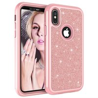 For iPhone XS XR Case 3in1 Defender Case Flash Powder Back G...
