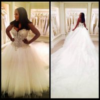 2019 Custom Made Wedding Dresses A Line Sweetheart Sequins B...