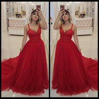 Elegant Red V Neck Arabic Long Prom Dresses Tulle Satin Bead...