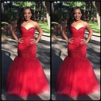2018 Sexy Red Mermaid Prom Dress Lace Applique With Sheer He...