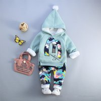baby boys clothes sets hooded coat+ pants autumn winter track...