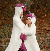 Unicorn Blanket Hooded For Girls Wearable Crochet Knit Throw...