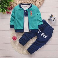 2018 baby boys clothing sets 3PCS coat+ T- shirt+ pants boys tr...