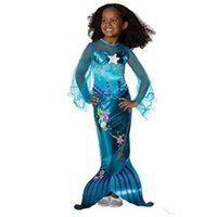 Girls Mermaid Dresses Princess Flare Sleeve Floral Tail Prin...