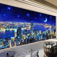 Modern Night City Wall Mural Wallpaper Roll 3D Stereo Office...