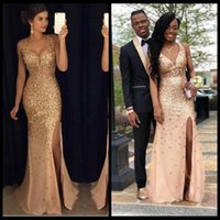 2019 Golden Long Mermaid Prom Dresses Sparkly Bling Crystal ...