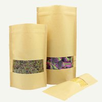 5pcs Kraft Paper Bag with Transparent Window Stand up Gift K...
