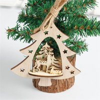Creative Christmas Wooden 3D Pendants Ornaments DIY Wood Cra...
