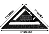 Triangle Ruler Measuring Tool Black Aluminum Alloy Square La...